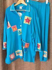Artsy Beaded Fish 3X Jacket Pants Set Outfit Tropical Vacation Parsley Sage