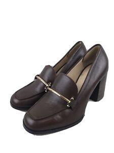 Enzo Angiolini Dark Brown Leather Block Heel Shoe Size 7