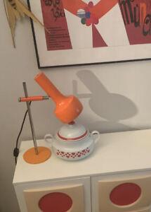 60er/70er Jahre Stuff Lampe Space Age Design Tischleichte Strahler