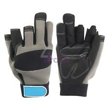 Part Fingerless Mechanics Safety Work Gloves Black Large