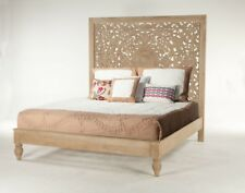"88"" W King Bed Artisan Intricately Hand Carved Headboard Sustainable Mango Wood"