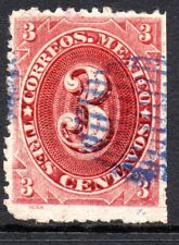 Mexico 1882 Foreign Mail Small Numeral 3¢ Rose Lake No District MX119