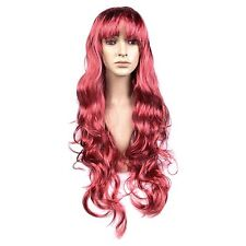 Adult Long Red Wavy Fancy Dress Cosplay Wig with Fringe