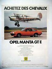 PUBLICITE-ADVERTISING :  OPEL Manta GT/E  1978 Voitures,Avions,Biplan