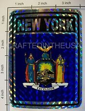 """Reflective Sticker New York State Flag 3x4"""" Inches Adhesive Car Bumper Decal New"""