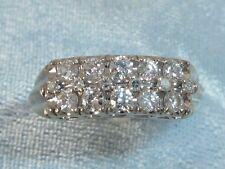 14K White Gold Ring, 10, 2mm & 5, 1.5mm Diamonds, TCW .40 carat, Size 6.5