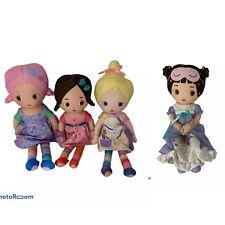 "💕 Lot Of 4 Of Creations Brunette Blonde Purple Pink Rag Dolls 12"" Talking D9"