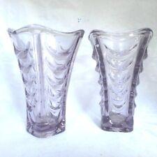 2 x Purple Mid Century Czech Glass 'Drapery' Vase - VACLAV HANUS / HERMANOVA HUT