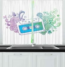 "Modern Sketch Kitchen Curtains 2 Panel Set Window Drapes 55"" X 39"" Ambesonne"