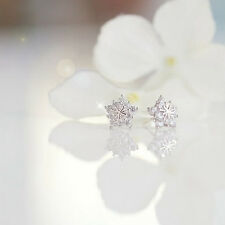Silver Snowflake Star Shaped White Rhinestone Crystal Earrings Earstuds Jewelry