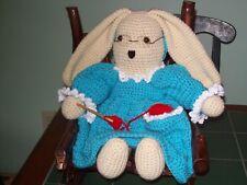 Crochet 17 in Granny Rabbit in Rocking chair animal home decor doll handmade