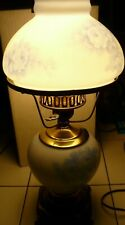 Hurricane Lamp Blue Roses Metal base way Brass Key Switch 18 inches tall