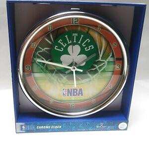 New WinCraft NBA Boston Celtics Chrome Wall Clock Basketball