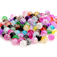 100Pcs Multicolor Crystal Crack Beads Plastic Round Loose Spacer 8mm