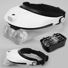 2 LED Head-Mounted Lamp Magnifier Light Jeweler Magnifying Glass Loupe Headband