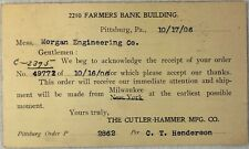 Vintage Cutler Hammer Order Receipt Postcard Engineering Tool Company Art 1906