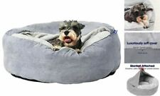 """Cozy Cave Dog Bed, Orthopedic Burrowing Small - 24""""x 24""""x 9"""" Light Grey Solid"""