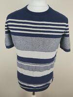 Mens Reiss Jackson Knitted T Shirt Top Sweater Silk Linen Blue Medium 40 Chest