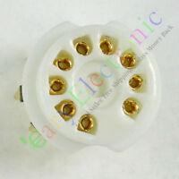10pc GOLD 9pin PCB Ceramic vacuum tube sockets valve 12AX7 12AU7 ECC83 ECC82