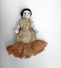 Antique Minature Frozen Charlotte Doll Original Costume Mid 1800s Poss. Germany