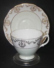 CUP SAUCER Royal Vale 7352 Bone China Ridgway Potteries Gold Scroll Mint Green
