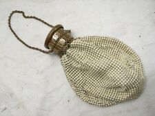 VINTAGE METAL BEAD MESH PURSE WITH UNIQUE EXPANDING TOP BRASS FASHION PROM