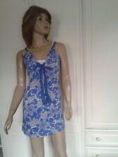 NEXT BLUE & GREY DRESS/TUNIC TOP WHITE FAUX CAMI SIZE 6