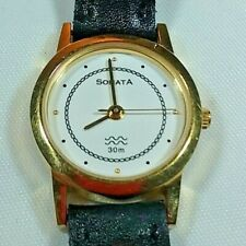 Sonata Women's Watch WR30m Black Leather Band Gold Tone Accents Made in India