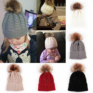 Baby Girls Boys Toddler Warm Knitted Fur PomPom Bobble Hat Beanie Caps Winter