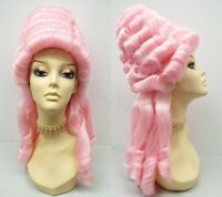 Marie Antoinette Wig Pink Updo 1700s Baroque Colonial Curly Masquerade Beehive