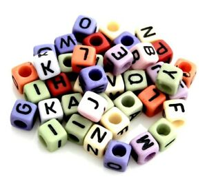 200 Assorted Colors Letters ABC Alphabet 6mm Square Cube Acrylic Craft Beads