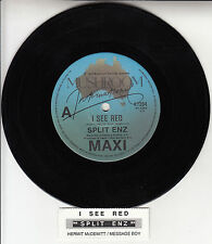"SPLIT ENZ  I See Red 7"" 45 rpm vinyl record + juke box title strip"