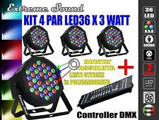 4 PAR LED 36 x 3 Watt + CONTROLLER DMX EXTREME SOUND ALTA LUMINOSITA STROBO WASH