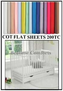 """COT BED / TRAVEL COT FLAT Sheet 55"""" X 71"""" OVER 20 COLOURS 200TC"""