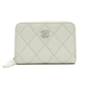 CHANEL Matelasse coin purse compact wallet zipper Caviar skin White Used
