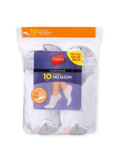 Women's Hanes 10-Pair Socks Size 5-9 No Show, Low Cut, or Ankle: Black/ White