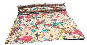 Kantha Quilt Bohemian King Cotton Handmade Bedspreads Bird Print Blanket Throw