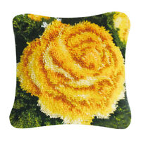 Yellow Flower Latch Hook Rug Kit DIY Embroidery Cross Stitch for Pillow Case