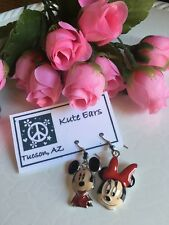 Silvertone Mickey Mouse Minnie Mouse Face Smile Dangle Earrings