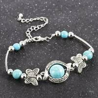 New Tibetan Silver Turquoise Butterfly Blue Charm Bracelet Bangle Jewellery Gift