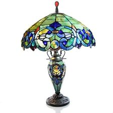 "Table Lamp Tiffany Style 26"" Sea Blue & Green Stained Glass Jewelled Double Lit"