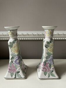 Chinese WBI Vintage Ceramic Candle Stick Holders with Floral Design - Rare Pair