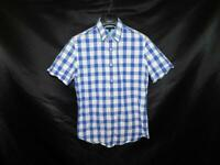 Banana Republic S Blue White Plaid Shirt Short Sleeve Chest Pocket Cotton Mens S