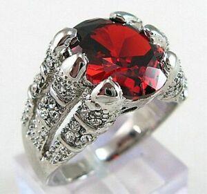 Anniversary Gorgeous Size 8-11 Garnet 18K Gold Filled Luxury Ring For Men Gift