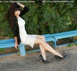 Valeria's pointed toe stiletto high heels black leather pumps EU39 US8,5 VIDEO