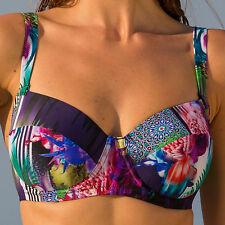 Pour Moi Tiger Lily Padded Underwried Bikini Top Black Multi - (16000)