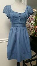 Womens Anthropologie KIMCHI BLUE Sheer Cotton Mini Dress Blue POCKETS Sz M