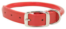 "Auburn Leather - Rolled Round Dog Collar - 8""-10"" - Orange"