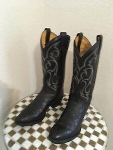 BLACK OSTRICH TONY LAMA USA WESTERN COWBOY BOOTS 8 D