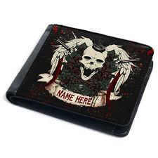Skull Wallet Mens Bi Fold Coin Card Holder Gun Tattoo Personalised Gift SH231